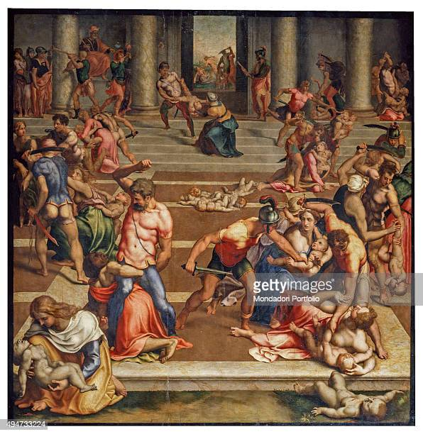The Massacre of the Innocents by Daniele da Volterra 16th Century oil on board 147 x 142 cm Italy Tuscany Florence Accademia Gallery Whole artwork...