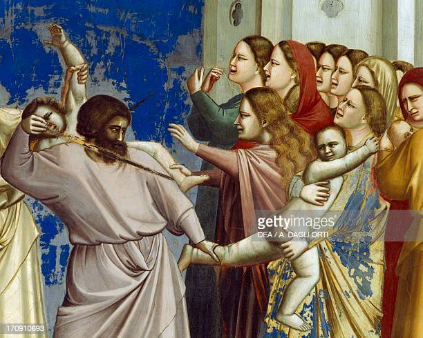 The Massacre of the Innocents by Giotto detail from the cycle of frescoes Life and Passion of Christ 13031305 after the restoration in 2002 Scrovegni...
