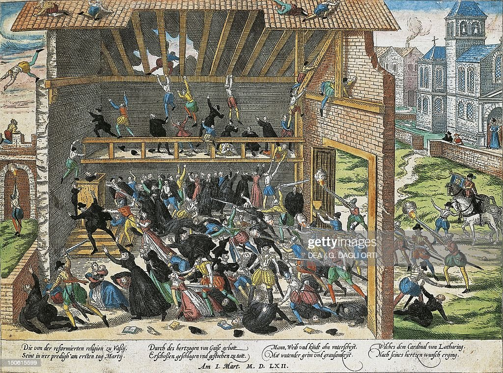 The massacre of Vassy in 1562. Wars of Religion, France, 16th century.