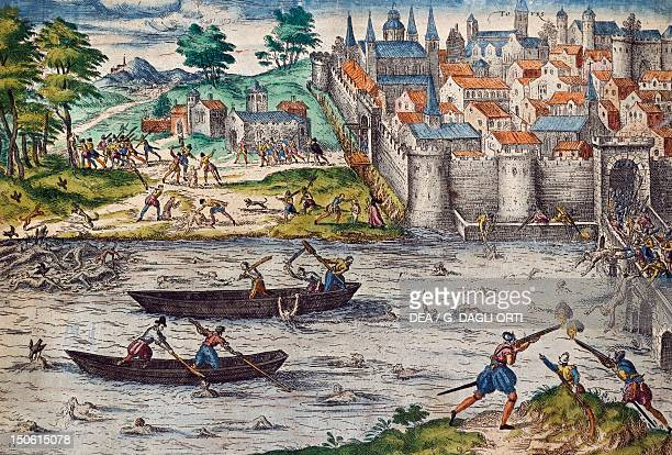 The Massacres of Tours July 1562 during the Wars of Religion against the Huguenots engraving by Franz Hogenberg France 16th century