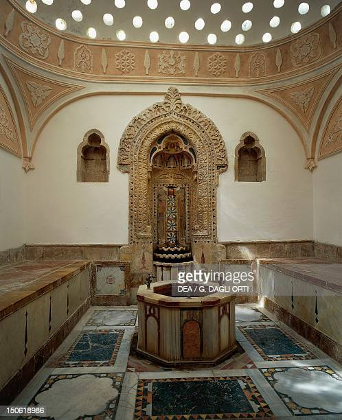 The massage hall in the tepidarium of the Hammam in the the Moorish style Palace of the Emir Bashir Shihab II 18041840 Beiteddine Lebanon