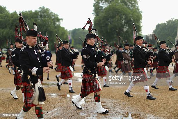 The Massed Pipes and drums division rehearse for the ceremonial 'Beating Retreat' event at Horse Guards Parade on June 7, 2016 in London, England....