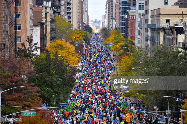 The masses run down 1st Ave. During the TCS New York City Marathon on November 3, 2019 in New York City.