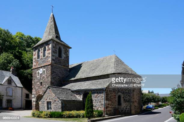 the massif central. cantal. cheylade. valley cheylade. church of apchon, one of the prettiest churches in the valley. - cantal stock pictures, royalty-free photos & images