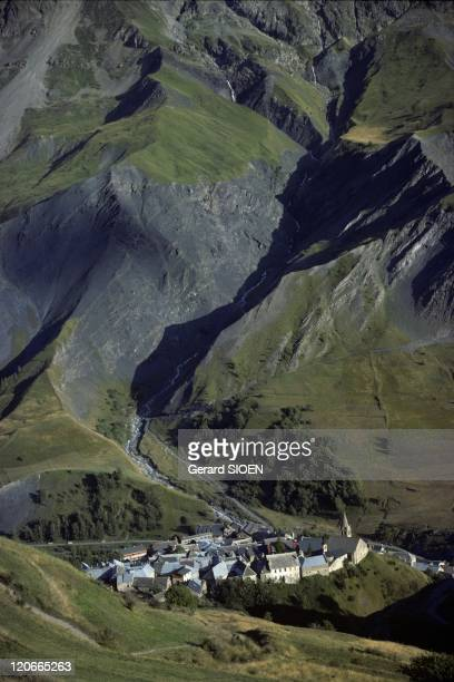The massif of the Meije Mountain Alps France In the national park of Ecrins the village of La Grave in the bottom of the valley
