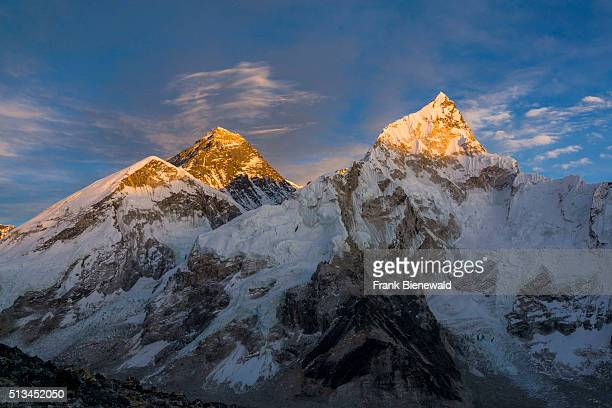 The massif of the mountains around Mt Everest and Nuptse at sunset seen from Kala Pathar