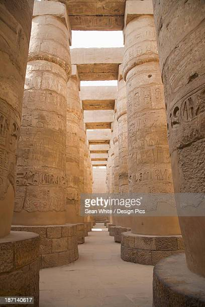The Massive Columns In The Temples Of Karnak On The East Bank Of Luxor Along The Nile River