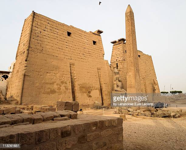 The massive First Pylon of Luxor Temple