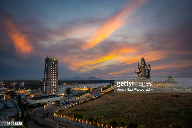 the massive lord shiva temple - karnataka stock pictures, royalty-free photos & images