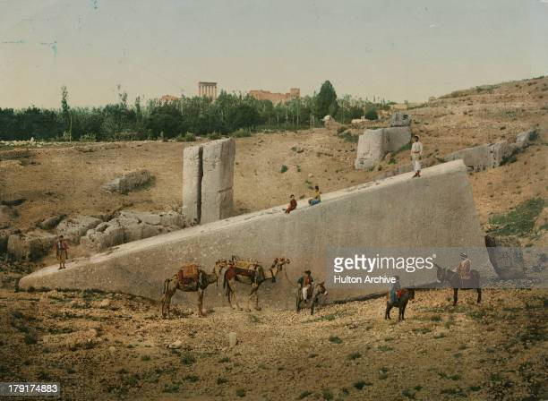 The massive monolith known as the Stone of the Pregnant Woman or Stone of the South in the ancient city of Baalbek in Lebanon circa 1900 A colorised...