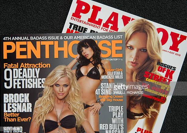 The mast heads of long time competitors Playboy and Penthouse men's magazines are seen July 15 2010 Penthouse and Playboy after decades of battling...