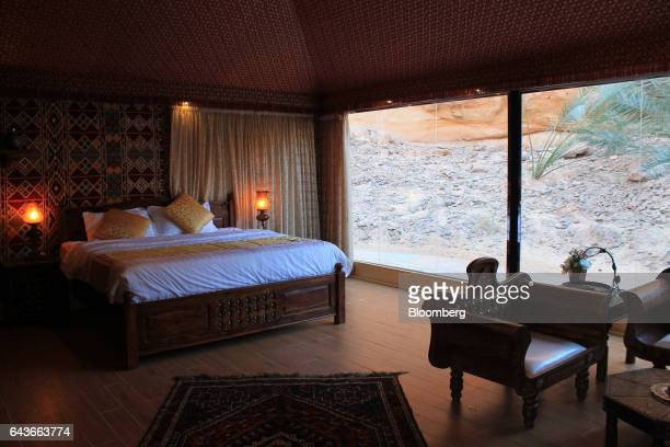 The master bedroom in the royal suite at Shaden a new luxury 5star desert camp overlooks an area where peacocks will roam in Al Ula Saudi Arabia on...