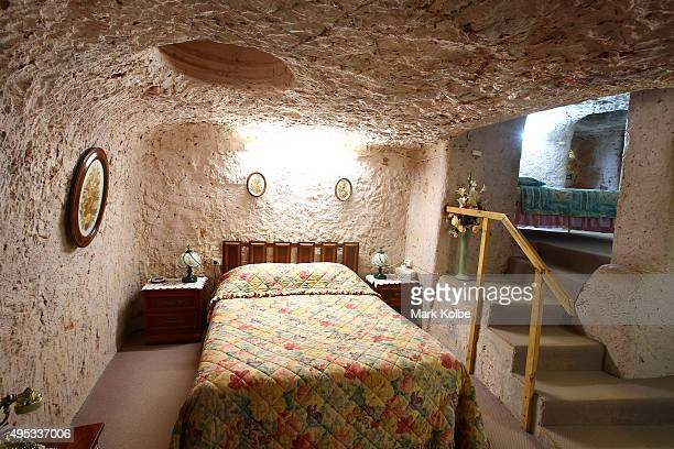 The master bedroom is seen inside Faye's Underground Home on October 22 2015 in Coober Pedy AustraliaThis three bedroom dugout as locals call...