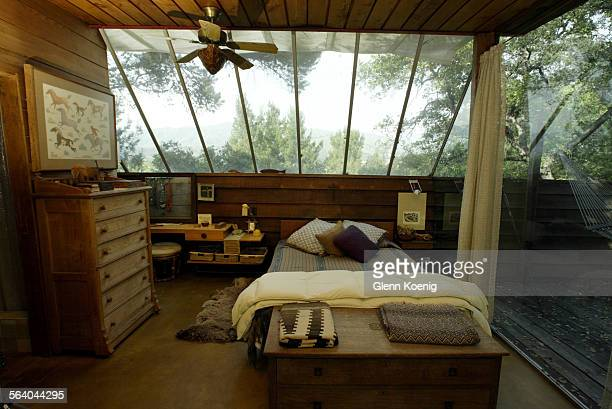 The Master Bedroom of the Payne remodel by John Lautner in San Dimas John Lautner designed this room This shoot is for the Home of the Week feature...