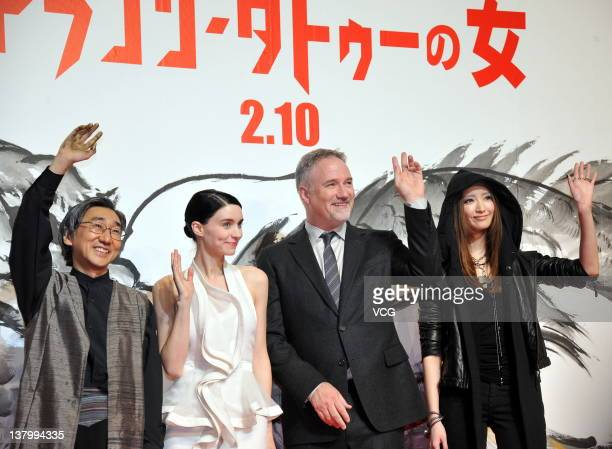 The master of Sumie Tohun Kobayashi actress Rooney Mara director David Fincher and model Nanao attend the 'The Girl with the Dragon Tattoo' Japan...