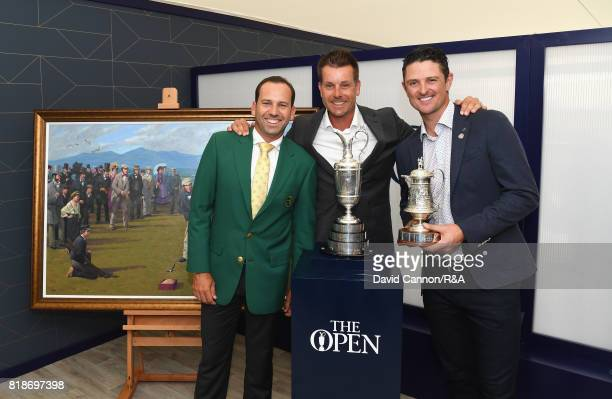 The Masters Champion Sergio Garcia of Spain poses with 2016 Open Champion Henrik Stenson of Sweden and Olympic Gold medallist and 2013 US Open...