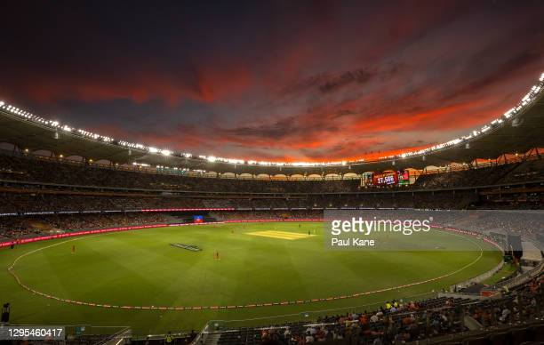 The match attendance figure is displayed during the Big Bash League match between the Perth Scorchers and the Sydney Thunder at Optus Stadium, on...