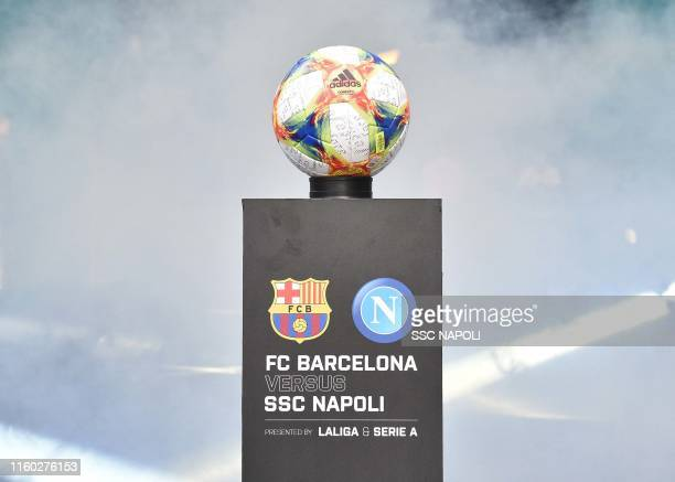 The match ball ahead of the preseason friendly match between FC Barcelona and SSC Napoli at Hard Rock Stadium on August 7 2019 in Miami Florida