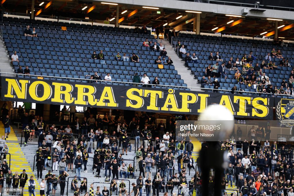 The match ball and fans of AIK during the Allsvenskan match between AIK and Athletic FC Eskilstura at Friends arena on August 13, 2017 in Solna, Sweden.