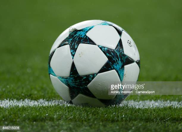 The match ball during the UEFA Champions League group C match between Chelsea FC and Qarabag FK at Stamford Bridge on September 12 2017 in London...