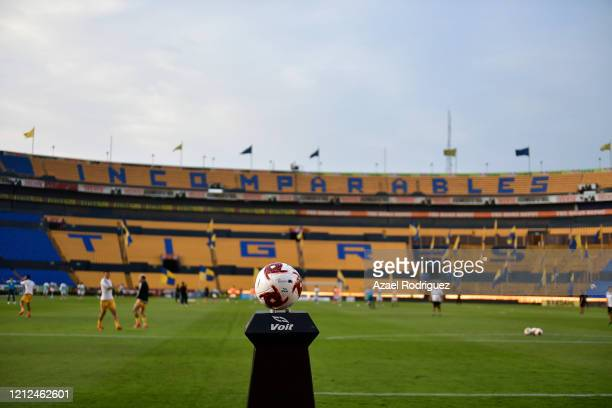 The match ball in an empty stadium prior to the 10th round match between Tigres UANL and FC Juarez as part of the Torneo Clausura 2020 Liga MX at...