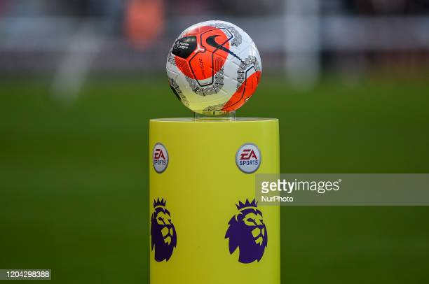 \the match ball in situ awaiting the players before the Premier League match between Newcastle United and Burnley at St. James's Park, Newcastle on...