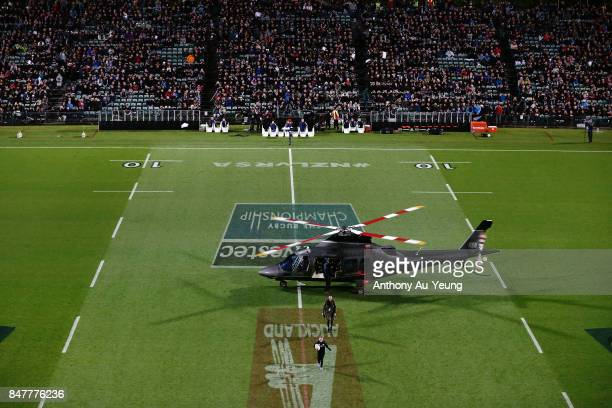 The match ball is delivered to the stadium by a helicopter prior to the Rugby Championship match between the New Zealand All Blacks and the South...