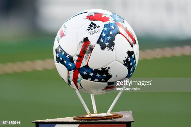 The match ball is displayed prior to the MLS match between Sporting KC and FC Dallas on April 22 2017 at Toyota Stadium in Frisco TX FC Dallas...