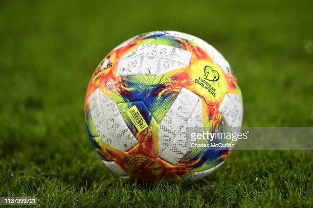 The match ball is pictured ahead of the 2020 UEFA European Championships group C qualifying match between Northern Ireland and Estonia at Windsor...