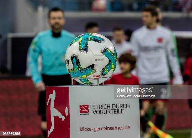 The match ball is pictured prior to the Bundesliga match between RB Leipzig and FC Bayern Muenchen at Red Bull Arena on March 18 2018 in Leipzig...