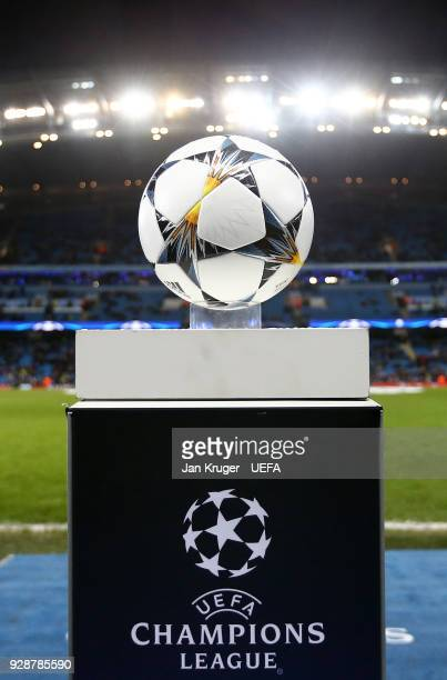 The match ball is placed on a plinth ahead of kick off during the UEFA Champions League Round of 16 Second Leg match between Manchester City and FC...