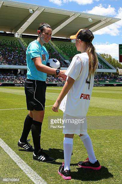 The match ball is presented to referre Kate Jacewicz during the W-League Grand Final match between Perth and Canberra at nib Stadium on December 21,...