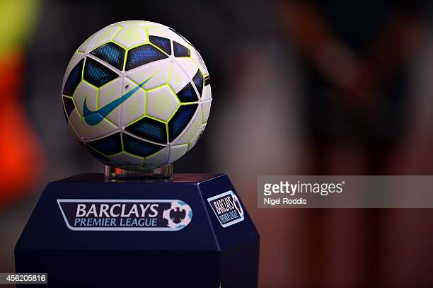 The match ball is seen ahead of the Premier League football match between Sunderland and Swansea at theStadium of Light on September 27 2014 in...