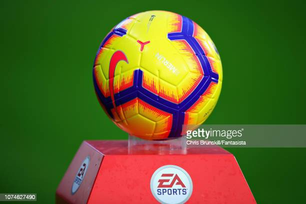 The match ball is seen before the Premier League match between Huddersfield Town and Southampton FC at John Smith's Stadium on December 22 2018 in...