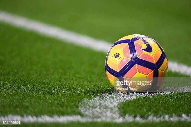 The match ball is seen during the Premier League match between Leicester City and West Bromwich Albion at The King Power Stadium on November 6 2016...