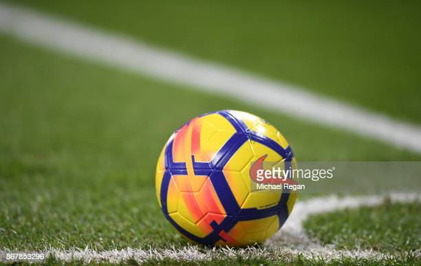 The match ball is seen during the Premier League match between Leicester City and Everton at The King Power Stadium on October 29 2017 in Leicester...