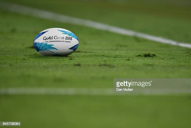 The match ball is seen during the Rugby Sevens Women's Pool B match between Fiji and Wales on day nine of the Gold Coast 2018 Commonwealth Games at...