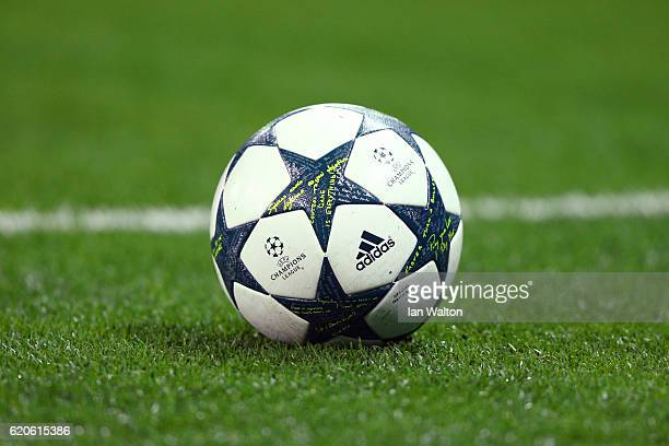 The match ball is seen during the UEFA Champions League Group E match between Tottenham Hotspur FC and Bayer 04 Leverkusen at Wembley Stadium on...