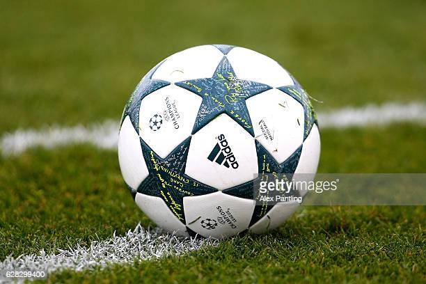 The match ball is seen during the UEFA Youth Champions League match between Tottenham Hotspur FC and PFC CSKA Moskva at Tottenham Hotspur Training...