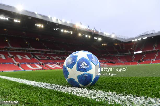 The match ball is seen on the pitch prior to the Group H match of the UEFA Champions League between Manchester United and Juventus at Old Trafford on...