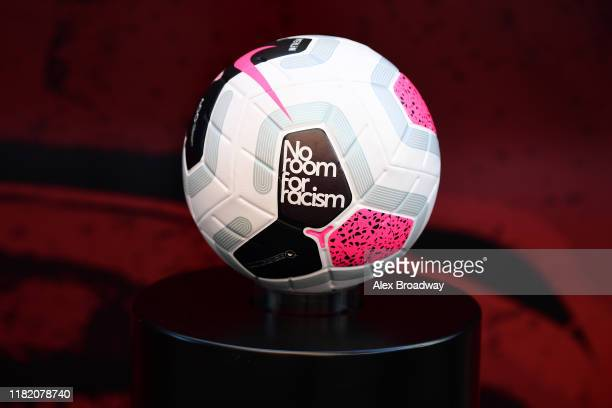 The match ball is seen on the plinth with 'no room for racism' branding prior to the Premier League match between Tottenham Hotspur and Watford FC at...