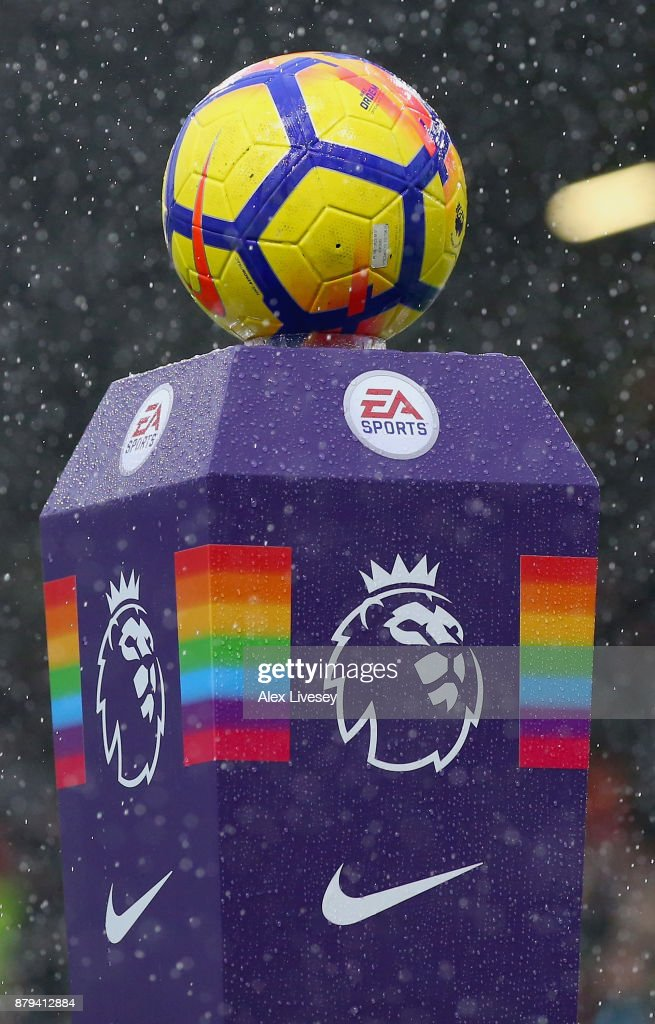 The match ball is seen on The Stonewall Rainbow plinth ahead of the Premier League match between Burnley and Everton at Turf Moor on November 26, 2017 in Burnley, England.