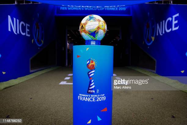 The match ball is seen prior to the 2019 FIFA Women's World Cup France group D match between England and Scotland at Stade de Nice on June 9 2019 in...