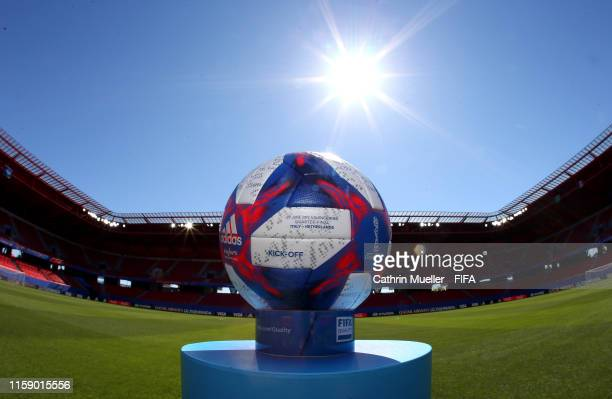 The match ball is seen prior to the 2019 FIFA Women's World Cup France Quarter Final match between Italy and and Netherlands at Stade du Hainaut on...