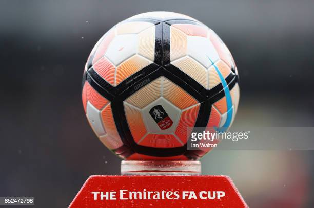 The match ball is seen prior to The Emirates FA Cup QuarterFinal match between Tottenham Hotspur and Millwall at White Hart Lane on March 12 2017 in...