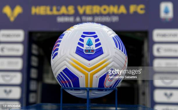 The match ball is seen prior to the Serie A match between Hellas Verona FC and Bologna FC at Stadio Marcantonio Bentegodi on May 17, 2021 in Verona,...