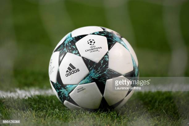 The match ball is seen prior to the UEFA Champions League group A match between Manchester United and CSKA Moskva at Old Trafford on December 5 2017...