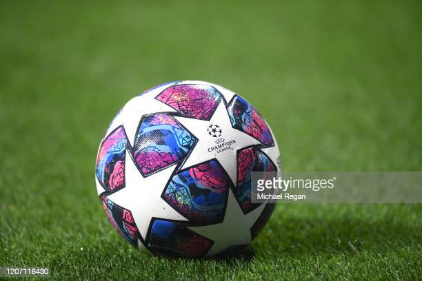The match ball is seen prior to the UEFA Champions League round of 16 first leg match between Borussia Dortmund and Paris SaintGermain at Signal...