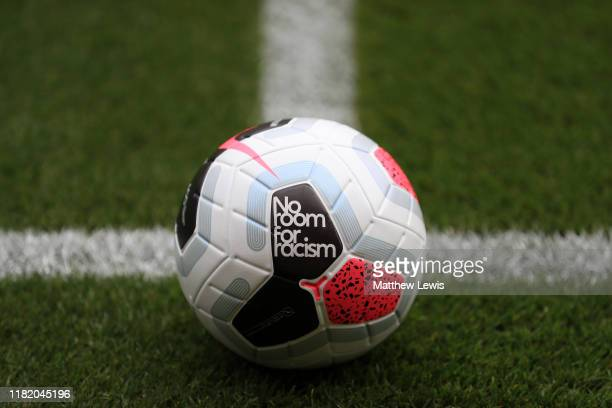 The match ball is seen with a logo saying 'No Room For Racism' prior to the Premier League match between Wolverhampton Wanderers and Southampton FC...