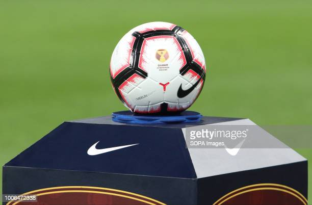 The match ball of the Olimp Super Cup of Russia being displayed before the match CSKA moscow won the Olimp Super Cup of Russia with a 10 victory over...